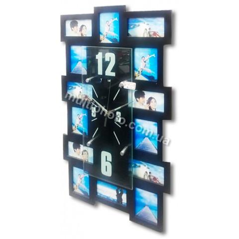 Мультирамка с часами RT Multi Black на 14 фото 60x35 см