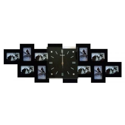 Мультирамка с часами RT Long Black на 10 фото 36x80 см