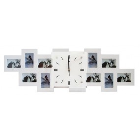Мультирамка с часами RT Long White на 10 фото 36x80 см