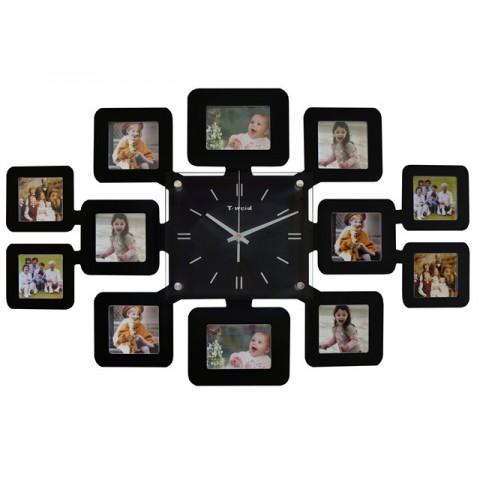 Мультирамка с часами RT Instagram-2 Black на 12 фото 62x42 см
