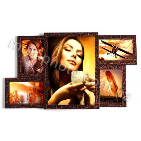 Мультирамка деревянная Руноко Бора шоколад на 5 фото