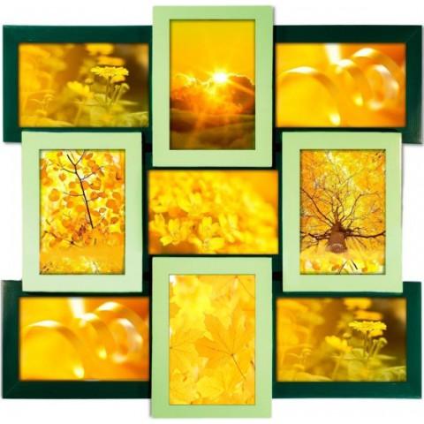 Мультирамка деревянная зеленая Руноко на 9 фото