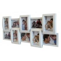 Объемная пластиковая мультирамка Hidu 10 White на 10 фото 75x30 см