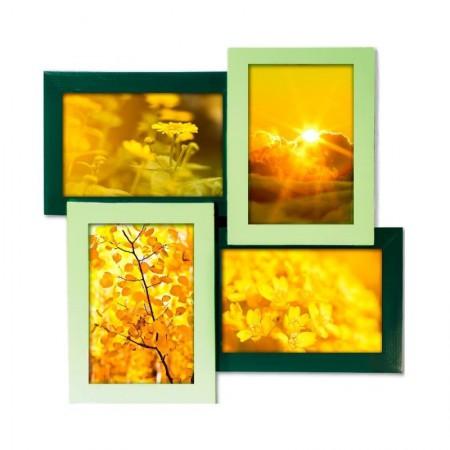 Мультирамка деревянная зеленая Руноко на 4 фото