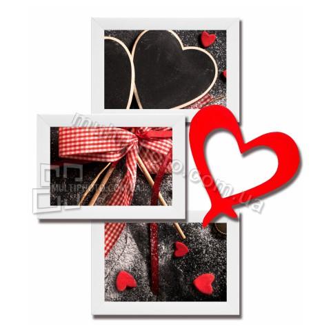 Мультирамка любовь на 3 фотографии со Стеклом