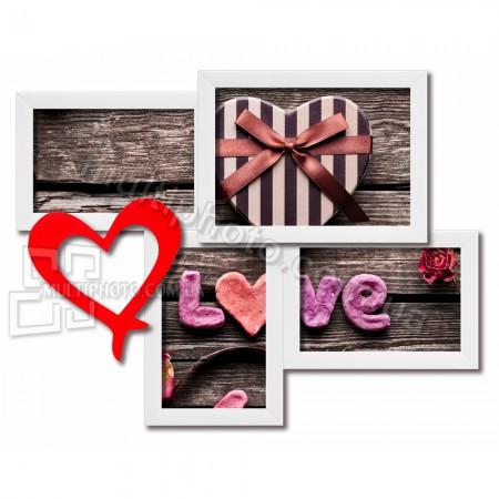 Мультирамка love на 4 фотографии со Стеклом