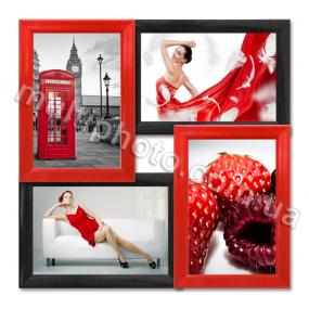 Мультирамка Хьюстон красно-черная на 4 фотографии 10х15 со Стеклом