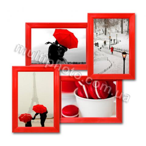 Мультирамка Модесто красная на 4 фотографии со Стеклом