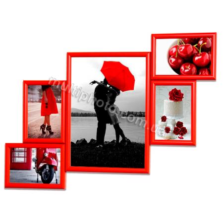 Мультирамка Индианаполис на 5 фотографий красная 63x47 см со Стеклом
