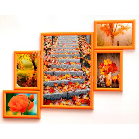 Мультирамка Индианаполис на 5 фотографий оранжевая 63x47 см со Стеклом