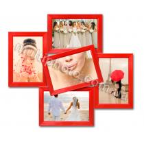 Мультирамка Топика на 5 фотографий красная со Стеклом