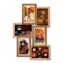 Мультирамка Остин золотая на 6 фотографий 55x33 см со Стеклом