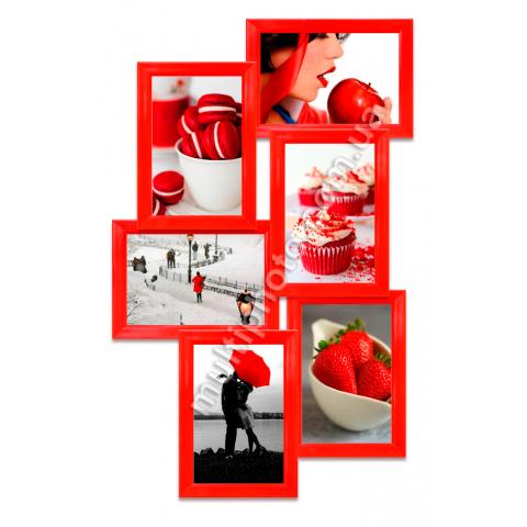 Мультирамка Остин на 6 фотографий Красная 55x33 см со Стеклом