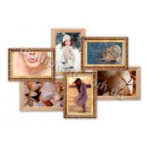Мультирамка Денвер золотая на 6 фотографий 53x36 см со Стеклом