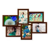 Мультирамка Денвер коричневая на 6 фотографий 53x36 см со Стеклом