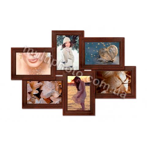 Мультирамка Денвер на 6 фотографий Венге 53x36 см со Стеклом