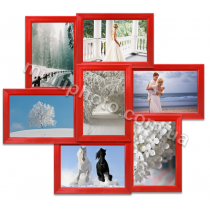 Мультирамка Роли красная на 7 фотографий 48x43 см со Стеклом