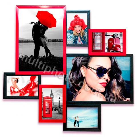 Мультирамка Атланта на 7 фотографий красно-черная 63x61 см со Стеклом