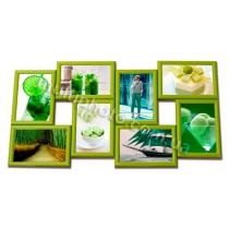Мультирамка Талса на 8 фотографий Зеленая 60x31 см со Стеклом