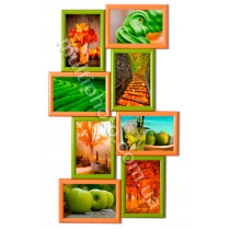 Мультирамка Тампа на 8 фотографий Оранжево-Зеленая 62x38 см со Стеклом