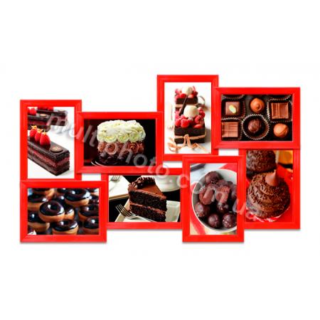 Мультирамка Буффало красная на 8 фото 60x36 см со Стеклом