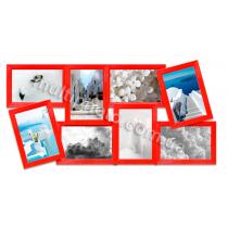 Мультирамка Норфолк красная на 8 фото 60x36 см со Стеклом