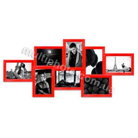 Мультирамка Норфолк красная на 8 фото 77x36 см со Стеклом