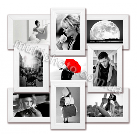 Мультирамка Бостон белая на 9 фотографий 10x15 со Стеклом