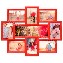 Мультирамка Такома на 9 фотографий красная со Стеклом