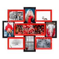Мультирамка Такома на 9 фотографий красно-черная со Стеклом