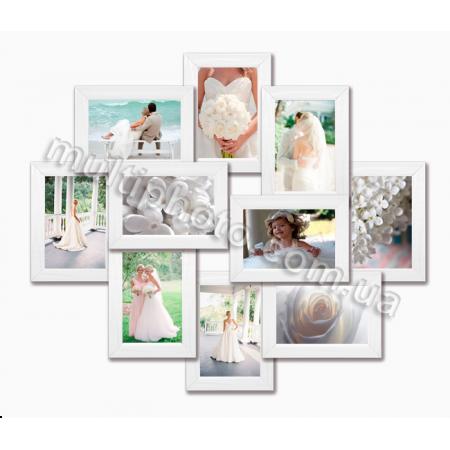 Мультирамка Такома белая на 10 фотографий 10х15 со Стеклом
