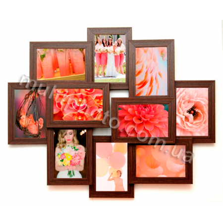 Мультирамка Огаста на 10 фотографий 10х15 цвет Венге со Стеклом