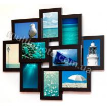 Мультирамка Огаста на 10 фотографий 10х15 цвет Черный со Стеклом
