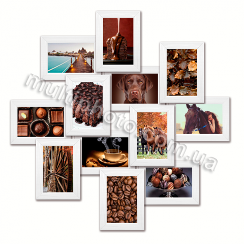 Мультирамка Онтарио белая на 12 фотографий 10х15 со Стеклом