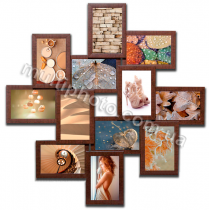 Мультирамка Онтарио на 12 фотографий 10х15 коричневая со Стеклом