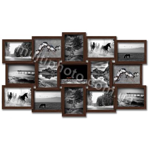 Мультирамка Ванкувер на 15 фото 15x21 цвет Венге со Стеклом
