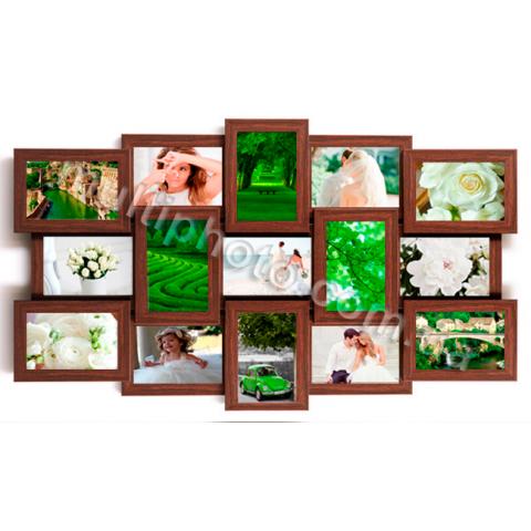 Мультирамка Ванкувер на 15 фотографий 10х15 цвет Венге со Стеклом