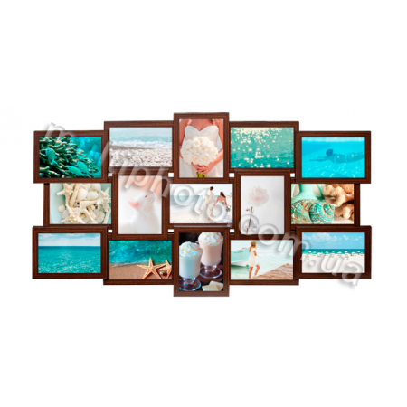 Мультирамка Ванкувер на 15 фотографий 13x18 цвет Венге со Стеклом