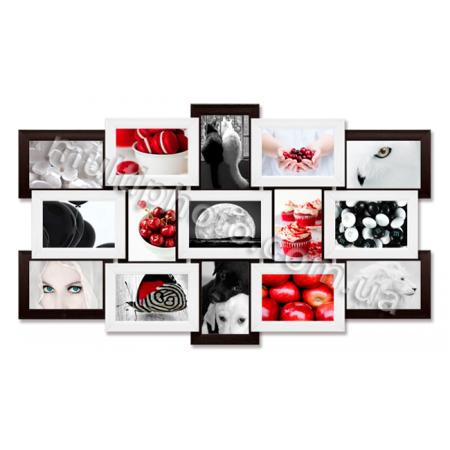 Мультирамка Ванкувер черно-белая на 15 фотографий 10x15 со Стеклом