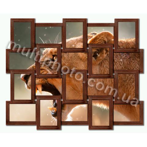 Мультирамка Конкорд венге на 20 фотографий со Стеклом