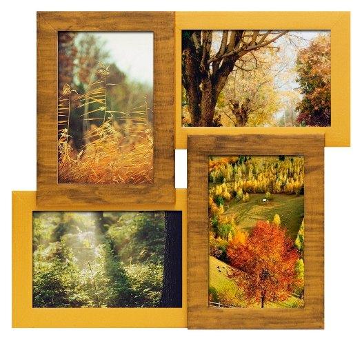 Деревянная мультирамка на 4 фото в интерьере Рустик