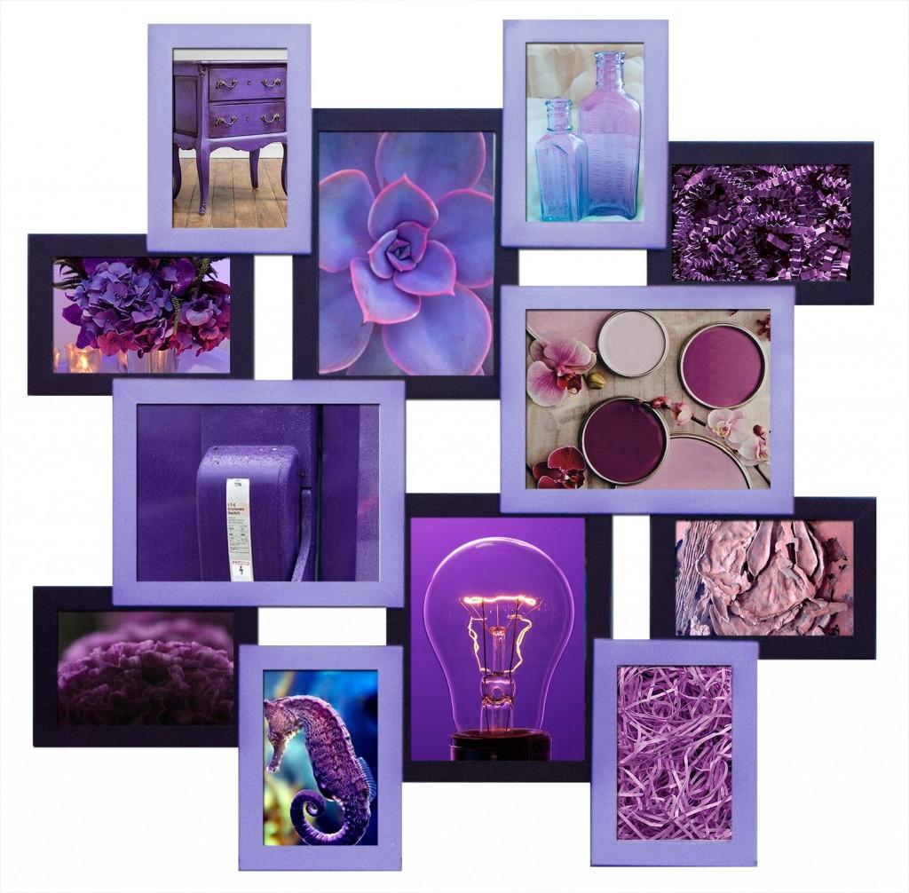 мультирамка на 12 фото фиолетовое Путешестаие в стиле минимализм