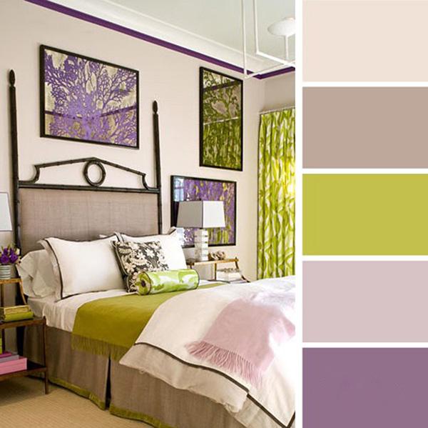 Оливковый и сиреневый цвет в интерьере фото